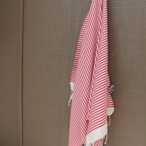 Red Striped Noosa Breach Towel