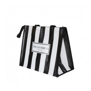 Black and white striped shopping bag