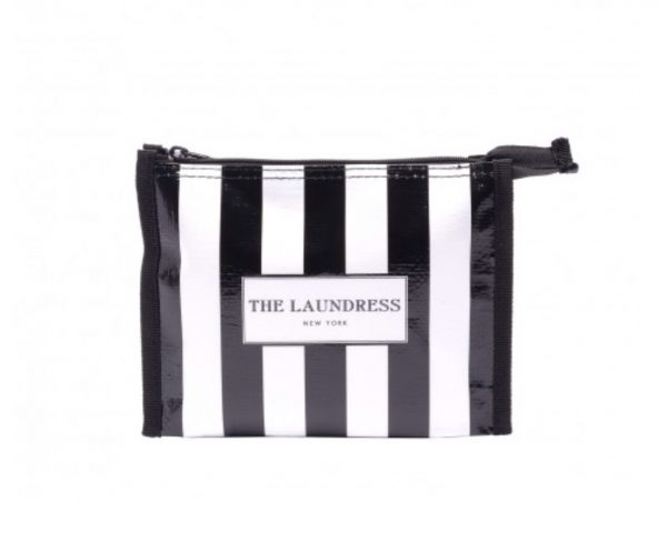 Black and white striped travel pouch