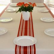 Red & Beige Tablecloth