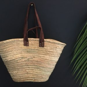 Basket with long leather handles