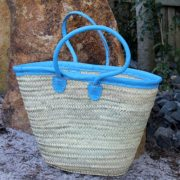 Medium basket with long leather sky blue leather handles & trim
