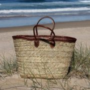 Large Rustic Weave Basket with Long Leather Handles