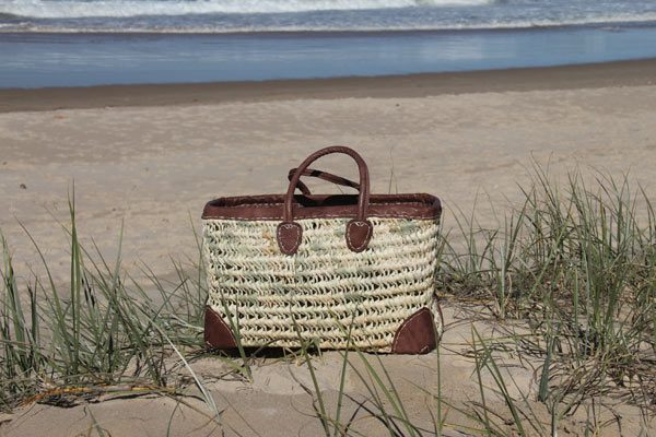 Large Rect Open Weave with Leather Trim and Corners