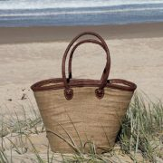 Medium Jute-Covered Basket with Long Leather Handles