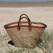 Medium Jute-Covered Basket with Short Leather Handles