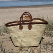 Medium Leather Trimmed Basket with Short Leather Handles