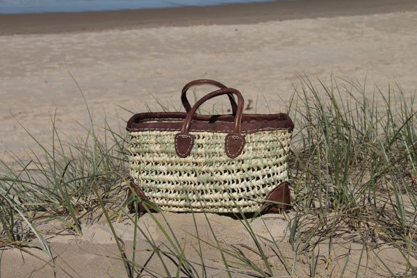 Medium Rect Open Weave with Leather Trim and Corners