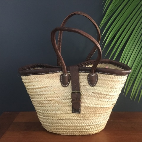 Leather Trimmed Basket with Buckle and Long Handles