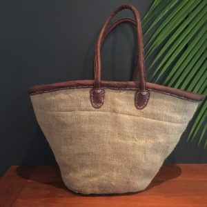Large handwoven basket with long leather handles