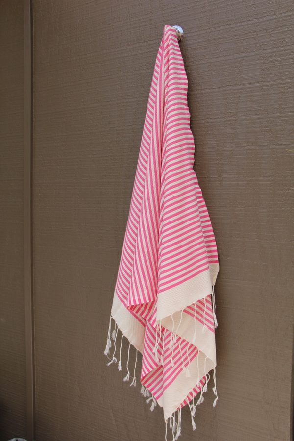 Fuchsia Striped Noosa Beach Towel