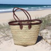 Leather Trimmed Basket with Long Leather Handles