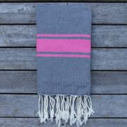 Cote d'Azur Grey with Pink Stripes
