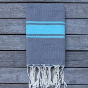 Cote d'Azur Grey with Blue Stripe