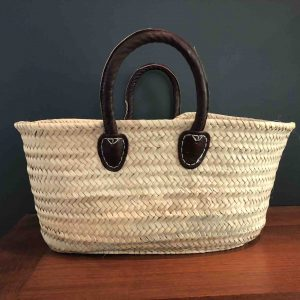 Handwoven basket with short handles