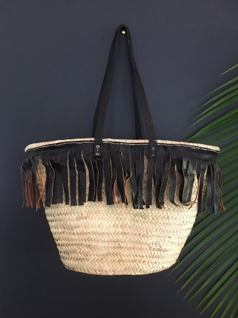 Basket with black leather fringing