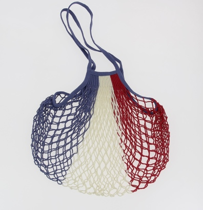 Large String Bag with Long Handles - Blue, Ecru and Red