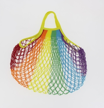 Large String Bag with Short Handles - Rainbow