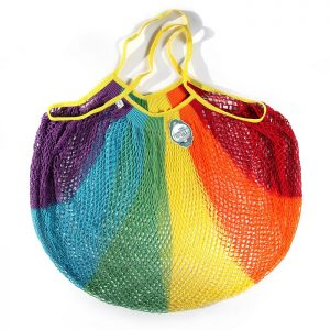 Extra large rainbow coloured string bag
