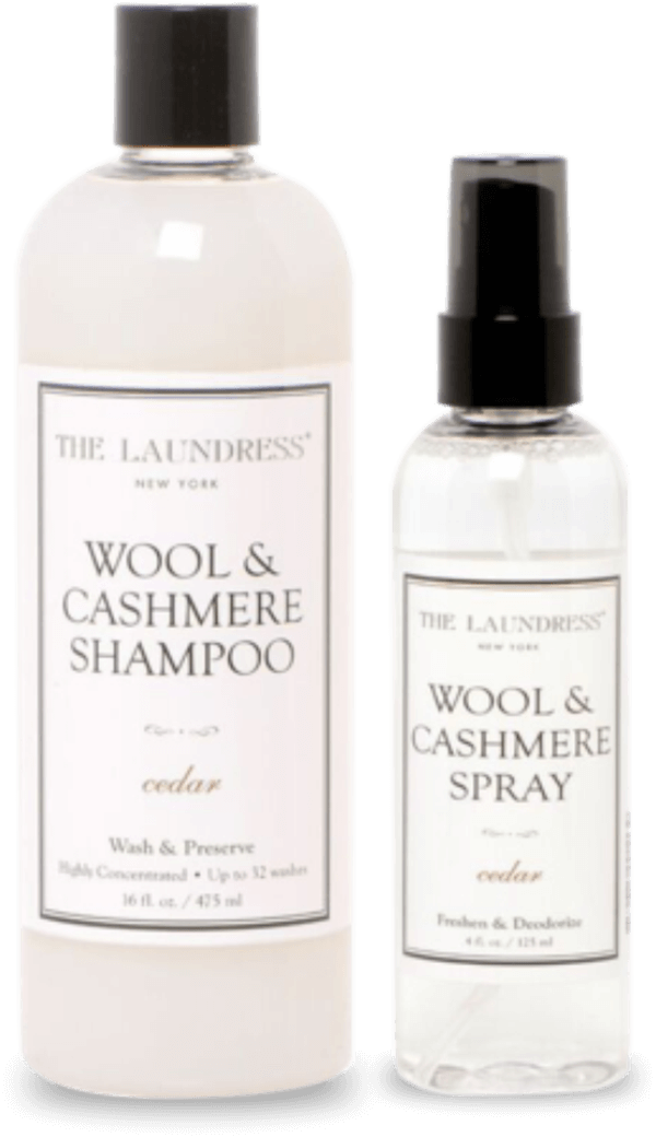 The Laundress wool and cashmere shampoo beside a wool and cashmere spray