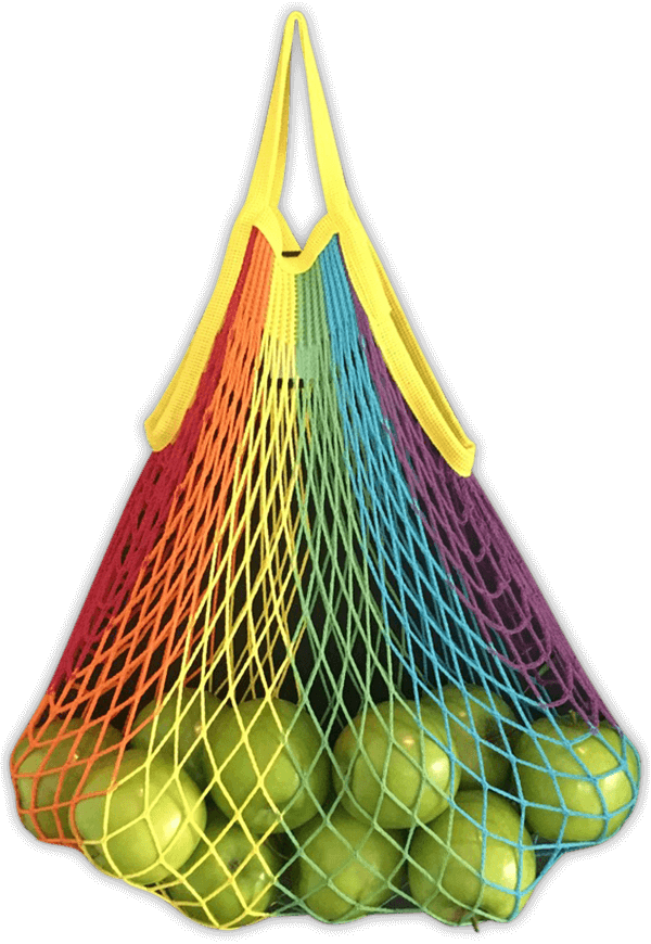 String bag with rainbow design and short handles
