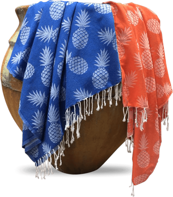 Blue and orange Towels with pineapple design