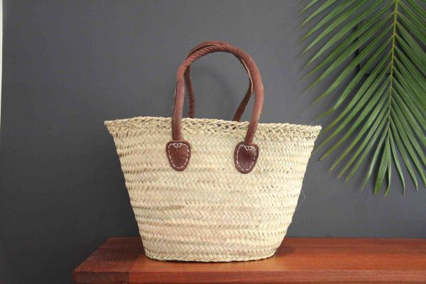 Lace Trimmed Basket with Long Leather Handles -Small-Medium
