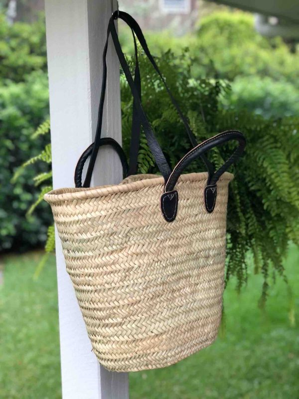 Medium Basket with Black Leather Handles