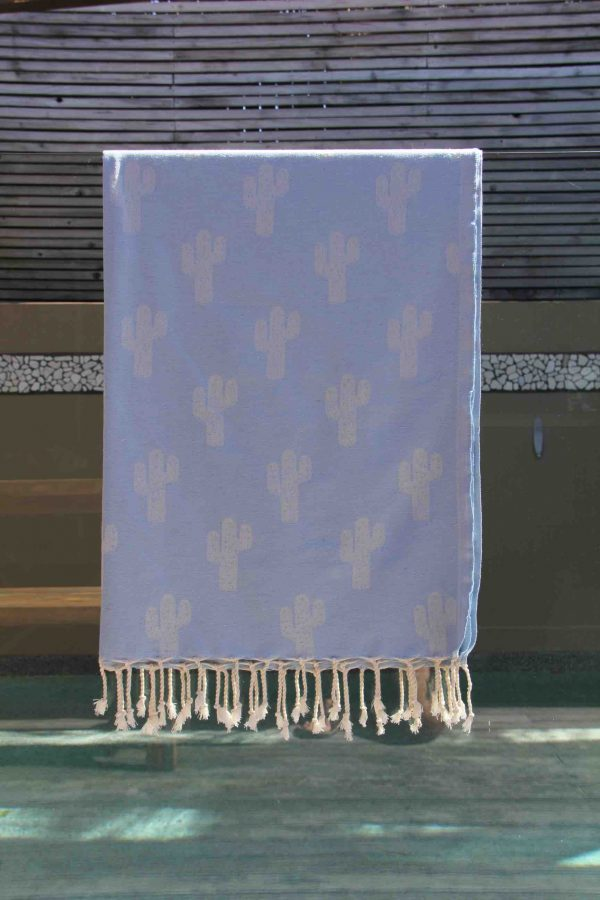 Towel with Light Blue Cactus Design