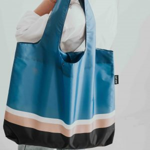 Blue striped shopping bag