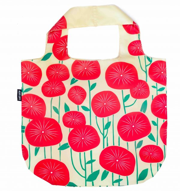 Reusable bag with poppies laying flat