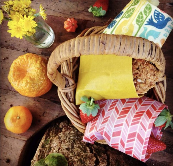 Bee Eco Food Wrap covering food in a basket