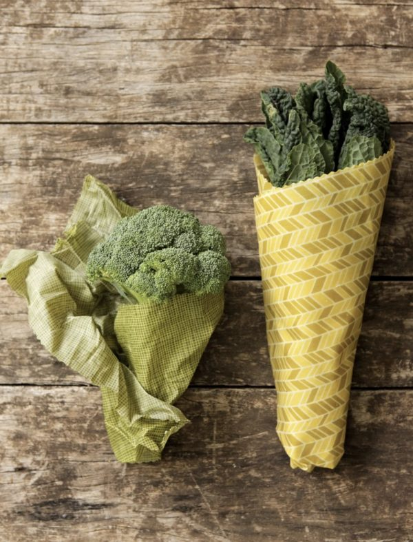 Bee Eco Food Wraps wrapped around vegetables